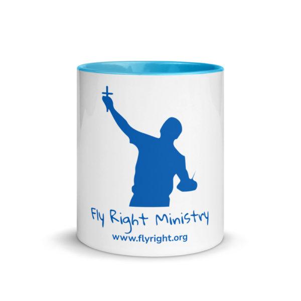 white ceramic mug with color inside blue 11oz front 60cadfad985b4